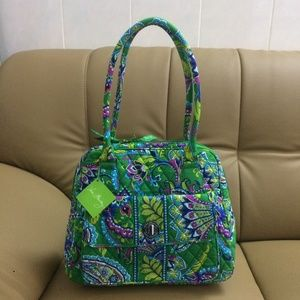 Vera Bradley Turn Lock Satchel bag Emerald Paisley